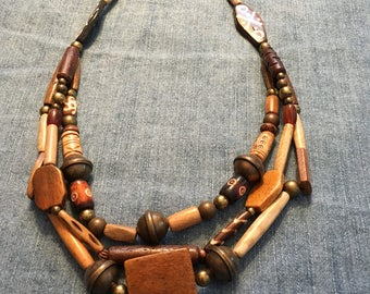 Bone and Brass Triple Strand Necklace