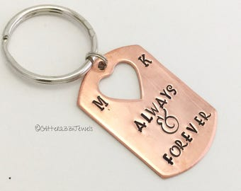 Always Forever Copper Dog Tag Keychain Cutout Heart Wedding Party Anniversary Birthday Best Friend Gift Cusom Initials Personalised Grad