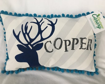Baby pillow with deer accent in light gray stripes and navy blue lettering. Personalized with name.