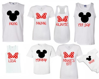 Mickey & Minnie Disney Custom Family Shirts Tanks Disneyland Disneyworld family trip vacation - matching tank tops tshirts with custom names