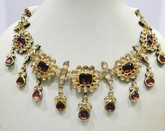 Vintage Antique 20k Gold Diamond Polki Kundan Enamel Work Necklace Rajasthan India