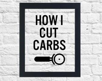 How I Cut Carbs, Pizza Print, Floating Frame, 8x10