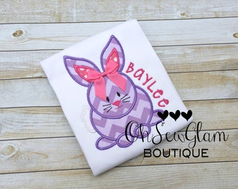 Girls Easter Bunny embroidered shirt - Easter Bunny Egg - Embroidered Easter Shirt - Girls First Easter - Easter Bunny Embroidered Shirt