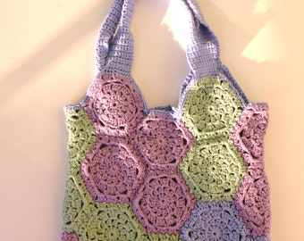 Handbag - Pink, green and blue - Size: 27 * 25 cm - Handmade
