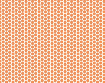 Polka Dot Fabric/Orange Dots on White/Riley Blake/Cotton Sewing Material/Quilting, Clothing, Craft/Fat Quarter, Half Yard, By The Yard