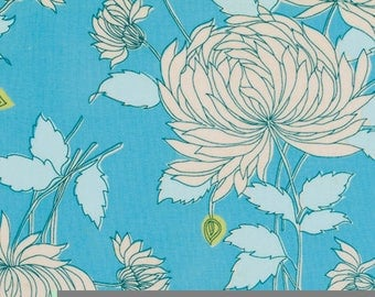 SALE/Amy Butler, Belle Chrysanthemum Fabric/Choose Blue or Green/Quilting, Clothing Yardage/Cotton Material/Fat Quarter, Half, By The Yard