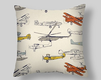 Gray Pillows, Orange Pillow Covers, Tan Throw Pillows, Vintage Airplanes, Decorative Pillows, Accent Pillows,  All Sizes 16 18x18 20