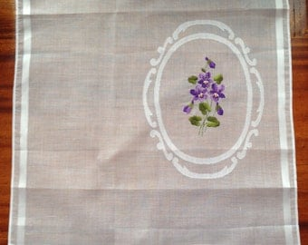 Vintage New Alba Cotton Lawn Handkerchief With Embroidered Violet Motif