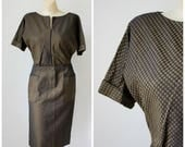 Sale Vintage 1950's Brown Wiggle Dress / Carl Naftal Dress / Mid Century Office Dress  / Short Sleeve Pin Up Dress  / Vtg 50s Cocktail Dress