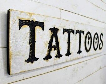 """Tattoos Sign - 40"""" x 10"""" Carved in a Cypress Board Rustic Distressed Arts & Crafts Farmhouse Style Kitchen Wall Decor Wooden Gift"""