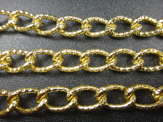 1ft aluminum gold curb chain 16x10x2mm non tarnish jewelry for Craft chain by the foot