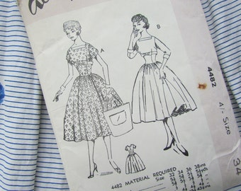Vintage Size 34 Inch Full Skirted Dress with Bust Detail - Academy Sewing Pattern No 4482