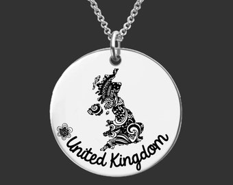United Kingdom   UK Necklace   Bridesmaid Gifts   Friend Gift   Daughter Gift   Friend Gift   Personalized Gifts   Korena Loves