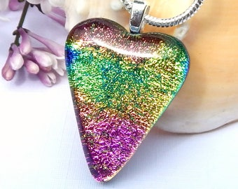 Rainbow Glass Heart Pendant, Dichroic Glass Necklace, Fused Glass Jewelry, Pink and Green Art Glass Heart