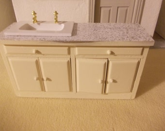 Dollhouse kitchen  unit with sink in cream 1 12th sale miniature dolls house kitchen