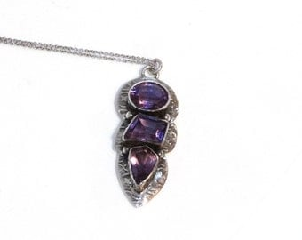 Vintage Amethyst Necklace Sterling Silver Pendant Sterling Chain Purple Gemstone Big Large Mod Geometric