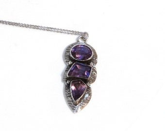Vintage Amethyst Necklace Sterling Silver Pendant Sterling Chain Purple Gemstone Big Large Mod Geometric Jewelry