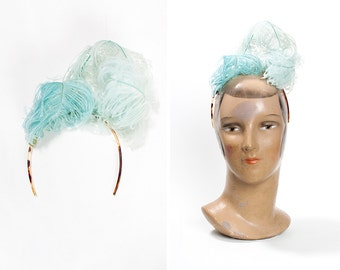 RARE 1900s French Celluloid and Ostrich Feather Evening Headpiece