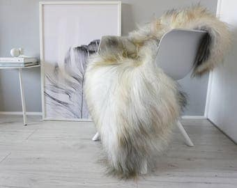Natural Genuine GIANT XXL Rare Breed Icelandic Sheepskin Rug - Grey | Silver | White | Latte | Beige | Black Mix - Soft Long Wool - SI 222