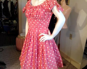 Fabulous Spring Fling 1940's Polka Dot Semi Off the Shoulder Dress