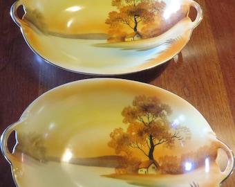 2 Vintage Noritake Morimura Bros. Serving Bowls/Tree in the Meadow Pattern