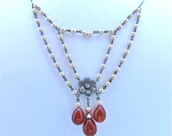 """Rousslet """"Pearl"""" and """"Carnelian"""" Swag Necklace"""