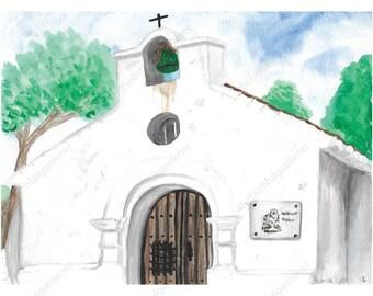Mountain Church Watercolor Original Painting