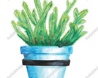 Blue Pot with Green Succulent Watercolor Original Painting