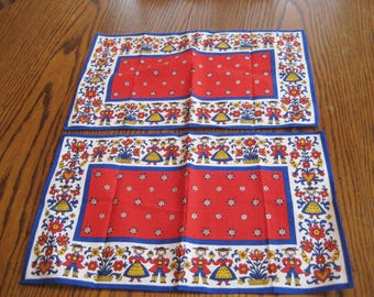 Set of four Placemats, red, blue, yellow, folk art placemats, Dutch boy and girl, country decor