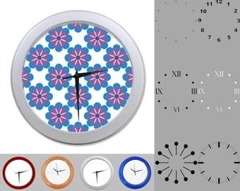 Purple Flower Wall Clock, Hawaiian Design, Fun Colorful Design, Customizable Clock, Round Wall Clock, Your Choice Clock Face or Clock Dial