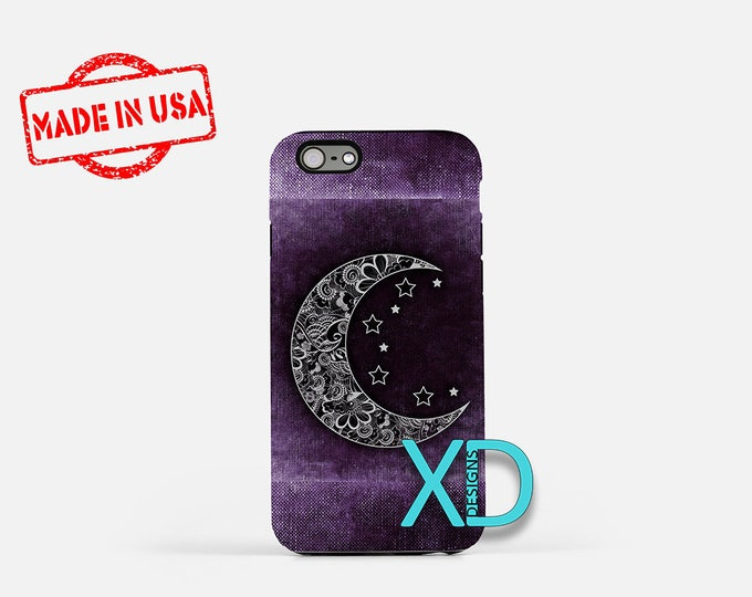 Crescent Moon iPhone Case, Moon iPhone Case, Moon iPhone 8 Case, Moon, Stars, iPhone 6s Case, iPhone 7 Case, Phone Case, Safe Case, SE Case