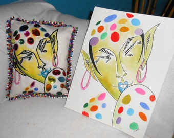 """BEADED PORTRAIT PILLOW, Whimsical Polkadot Elf, 9.5""""x 7.5"""", My Painting Printed on Fabric, Accent Pillow with Beaded Fringe, Free Shipping"""