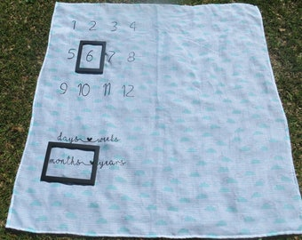 Baby Milestone Blanket (Clouds/Heart)