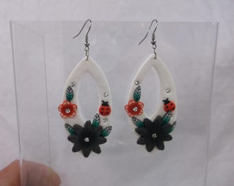 Very Delicate Soft Clay Flower and Ladybug Earrings Lightweight