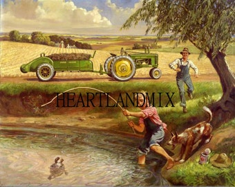 Fishing in the Farm Pond Vintage Digital Download Printable Image wall art Illustation