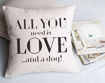 Personalised All You Need Is Love Cushion Pillow Cover, Wedding Anniversary Housewarming Gift