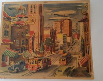 1950's San Francisco Lithograph by French Artist Lamartine Le Goullon Unframed print San Francisco Street Scene Cable Car Chinatown