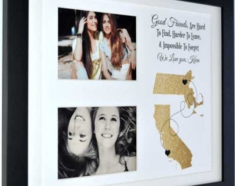 Long distance gift for best friend, personalized gift, any two places, birthday gift, friendship quote print, moving away gift, photo gift