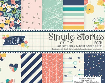 Simple Stories - Double Sided Paper Pad - 6x6 24 Pack Posh - 12 Designs/2 Each