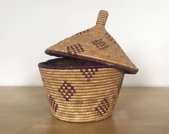 Woven Lidded Basket with Purple Details