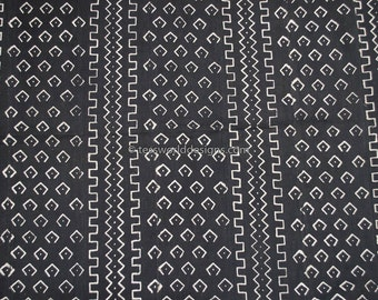Handmade, African Mudcloth fabric , African fabric ,  from Mali , Fabric from Africa Black white , MC194
