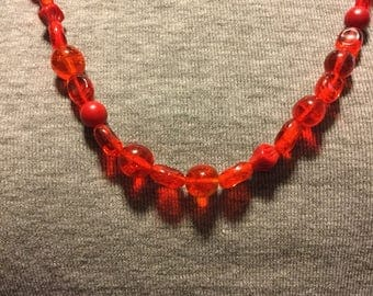 Vintage Red Glass Plastic Bead Necklace - FREE USA SHIPPING