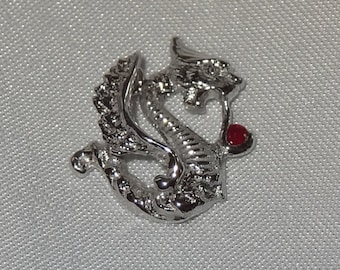 Vintage 14k White Gold Dragon with Ruby Charm or Pendant