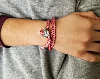 Triple March bracelet, traditional March bracelet, paracord March cuff, unisex March bracelet, red white folk bracelet or choker necklace