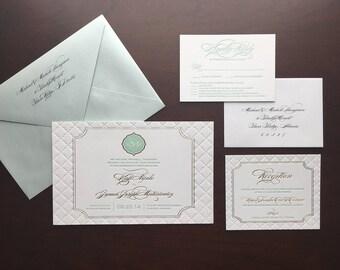 Mint Letterpress, Gold Foil, Blind Debossed Monogram Wedding Invitation
