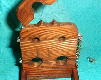Dollhouse miniature handcrafted Medieval stocks with stool made from wood