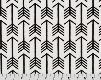 Premier Archer Arrow Cuddle Minky Fabric in Off White and Black by Shannon Fabrics