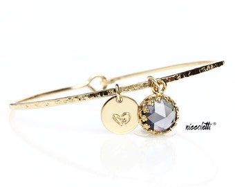 Alexandrite Charm Bracelet / 14k Gold Filled or Sterling Gemstone Bangle / Mothers Birthstone Jewelry / June Birthday Gift for Her