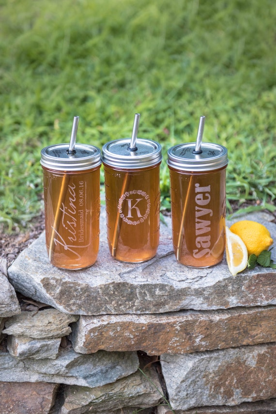 Set of 3 Custom Etched Hard to Find Large 24oz Mason Jar To Go Cup With Stainless Steel Straw Fits in Cup Holders Eco Friendly
