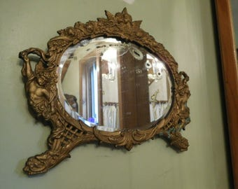 French Antique Beveled Mirror with Beautiful Antique Brass Frame with Cherubs
